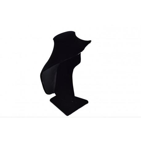 Busto expositor para collares en terciopelo negro 27 cm