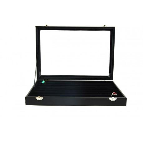 Caja expositora para anillos negro con tapa de cristal 35 cm