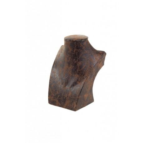 Busto expositor para collares en polipiel veteado marrón 16 cm