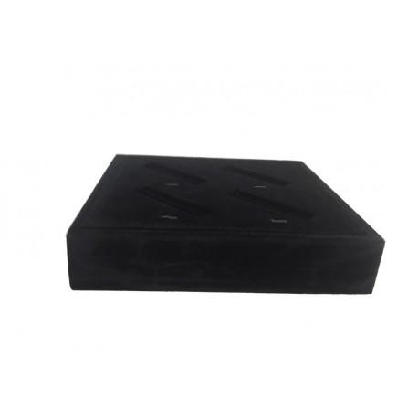 Bandeja expositora para joyeria ranurada en terciopelo negro 18.5x16.5 cm