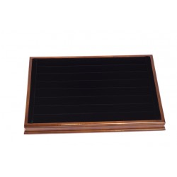 Bandeja expositora de madera para anillos en terciopelo negro 24x35 cm