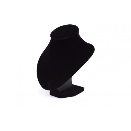 Busto expositor para collares en terciopelo negro 17 cm