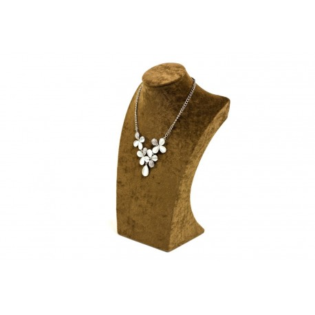 Busto expositor para collares en erciopelo marrón 30 cm