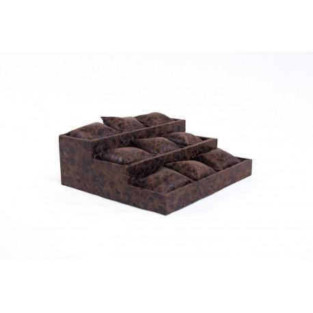 Expositor almohadillado a 3 alturas en polipiel veteado marron 26.5x24 cm