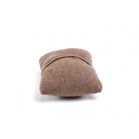 Almohadilla para pulseras en lino marron 10 cm