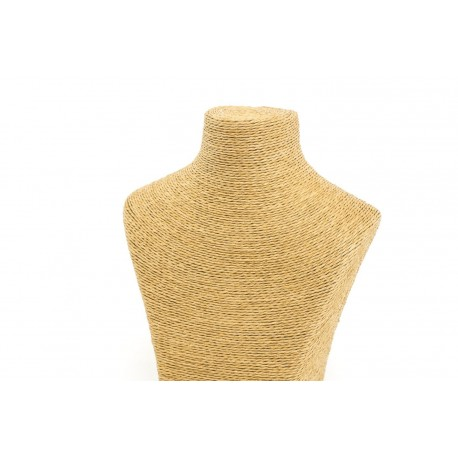 Busto expositor para collares revestido en cuerda tostado 20 cm
