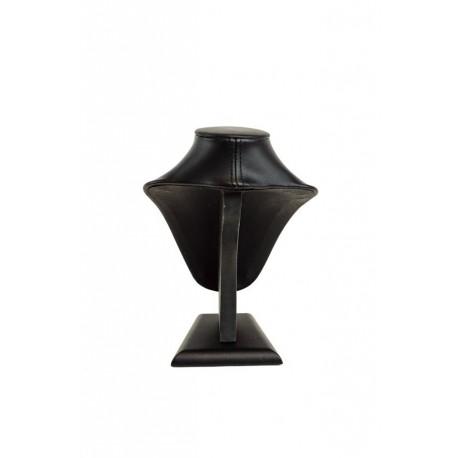 Busto expositor para collares en polipiel negro 18cm