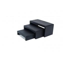 Conjunto de 3 mesitas expositoras en polipiel negro