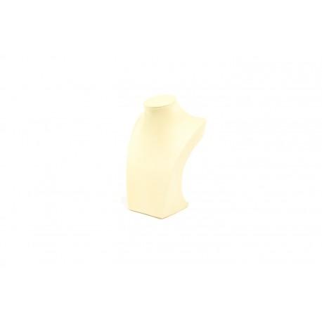 Busto expositor para collares en polipiel vainilla 21 cm