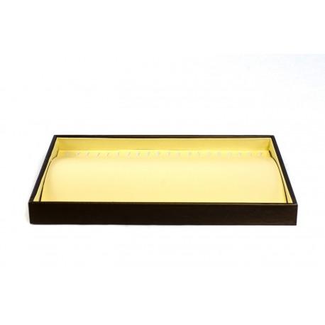 Bandeja expositora dejoyeria en polipiel vainilla y chocolate 24x35 cm