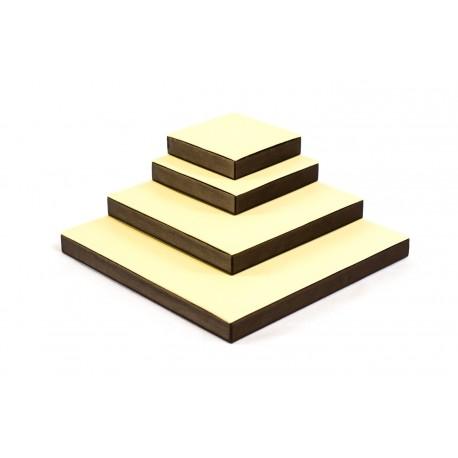 Conjunto expositor cuadrado de joyería en vainilla/chocolate 4 alturas