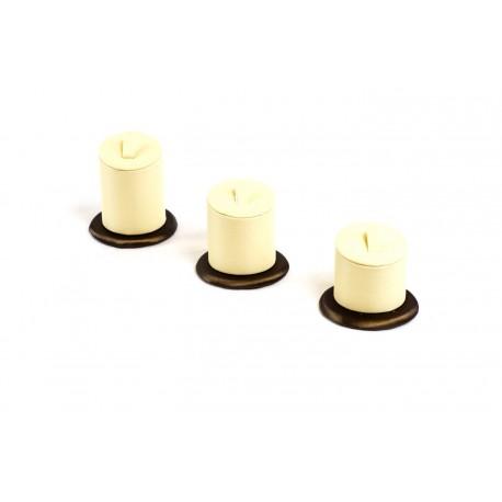 Conjnto expositor para anillos en polipiel vainilla/chocolate a 3 alturas