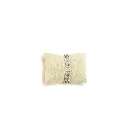 Almohadilla para pulseras en lino beige 9 cm