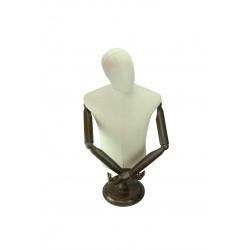 Busto de hombre en lino beige con cabeza y brazos articulados con pie madera redonda