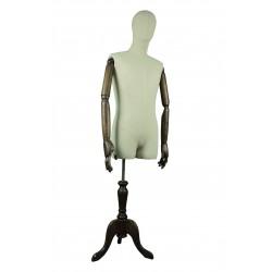 Busto de hombre en tela de lino con cabeza y brazos articulados