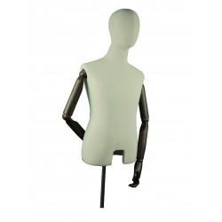 Busto de hombre en tela beige con brazos articulados y pie metálico