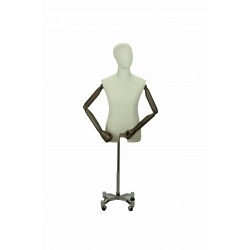Busto de hombre tela brazos articulados pie metálico