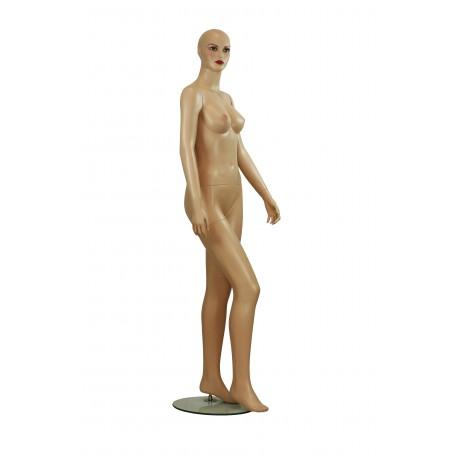 Maniquí de mujer realista fibra vídrio color beige sin pelo con base metalica