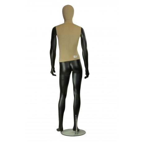 Maniquí de hombre fibra vídrio y tela negro mate