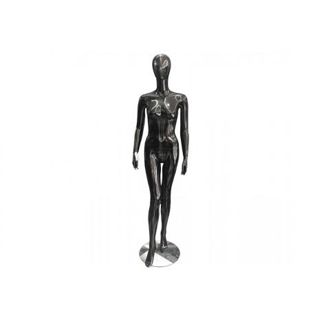 Maniquí de mujer fibra de vídrio negro brillo sin facciones