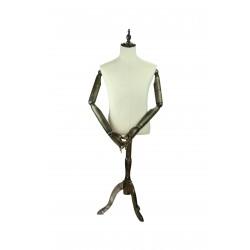 Busto de hombre en tela beige con brazos articulados y pie madera
