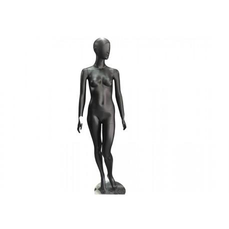 Maniquí de mujer color negro mate con rodilla doblada