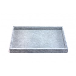 Bandeja expositora dejoyeria en terciopelo gris 35x24 cm
