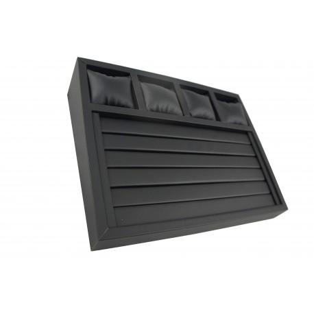 Expositor de joyeria ranurada y almohadillada en polipiel negro 28.5x37.5 cm