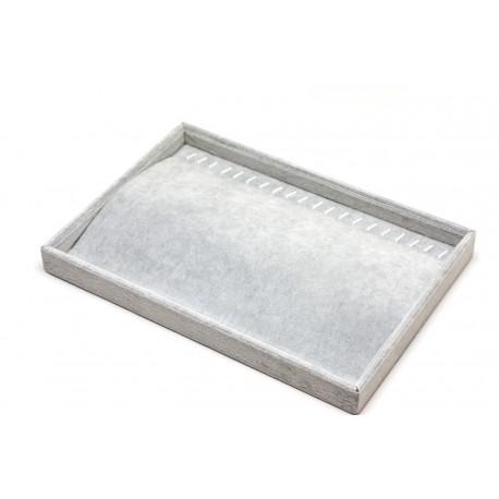 Bandeja expositora de cadenas y pulseras en terciopelo gris 35x24 cm