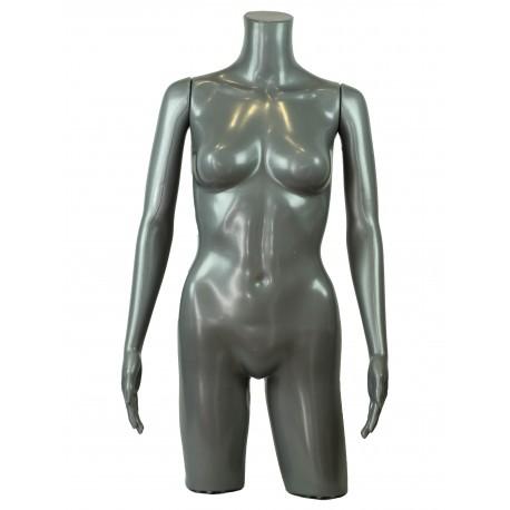 Busto de mujer con brazos polieteno gris