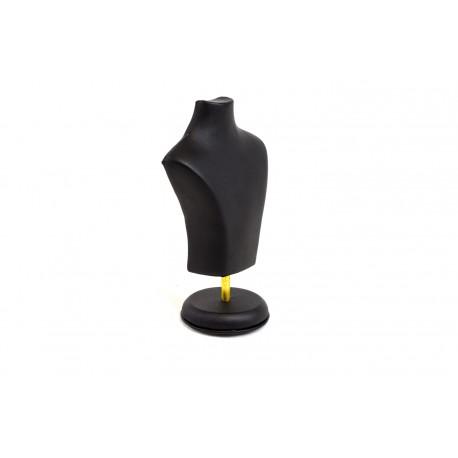 Busto expositor para joyeria en polipielnegro 15 cm.