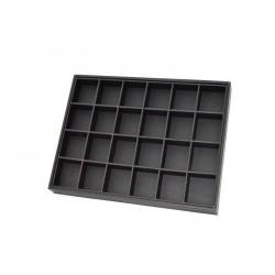 Bandeja expositor de joyeria 24 compartimentos en polipiel negro 35x25 cm