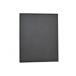 Expositor de pendientes forma L en polipiel negro 25x20 cm.