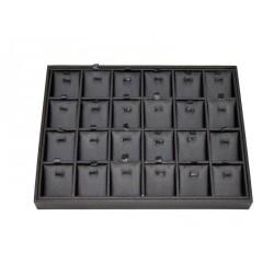 Bandeja expositora de joyeria en polipiel negro 24 compartimentos