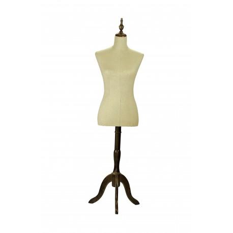Busto de mujer en lino con copa y pie de madera oscura