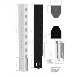 Extencion de columna para estanterias metalicas blanco  40 cm