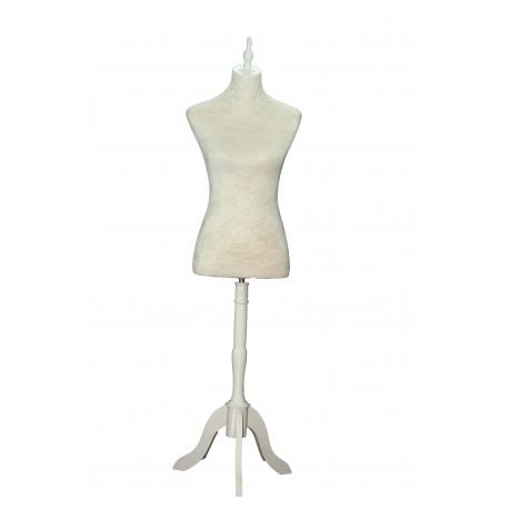 Busto de mujer lino y encaje pie de madera blanco