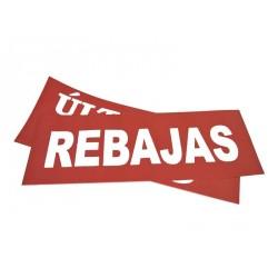 CARTE DE REBAJAS ROJO 100X35 CM