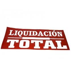 CARTEL DE LIQUIDACION TOTAL ROJO 160X60 CM