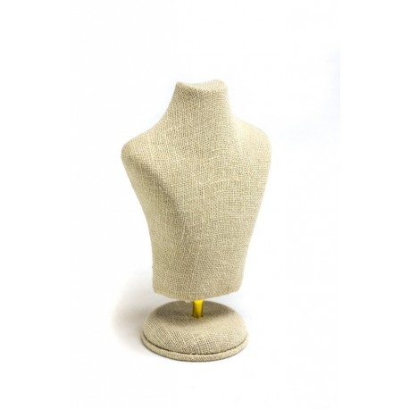 Expositor para joyeria lino beige forma busto 15x10x6cm
