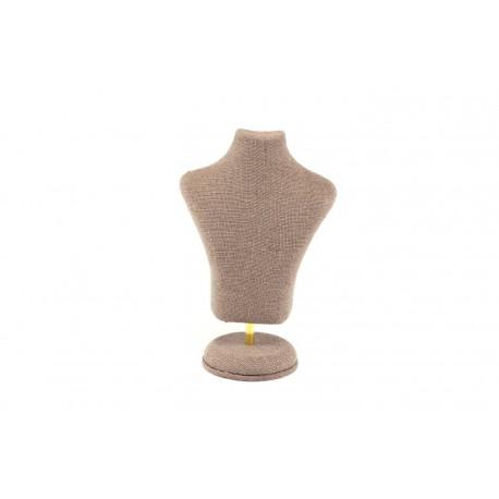 Expositor para joyería forma busto lino marrón