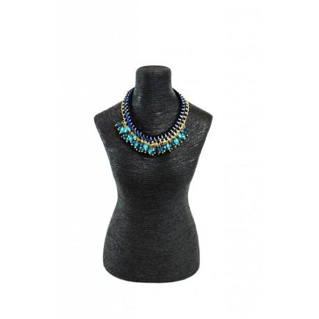 Expositor para joyería forma de busto mujer revestido de cuerda negra