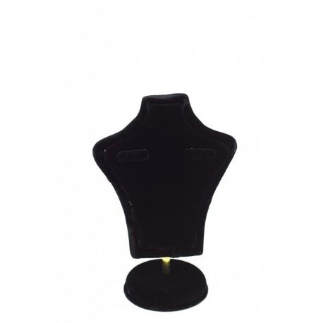 Expositor de joyería forma busto terciopelo negro 15x10x6cm