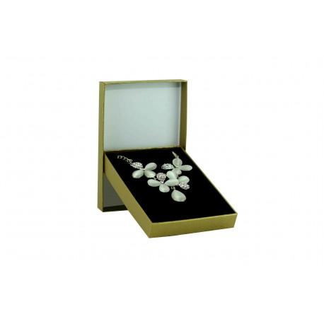 Cajita para joyas color dorado rugoso 9.3x13x2.2cm 4uds