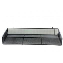 Cesta de acero negra para panel de lamas 48x20x7cm