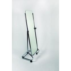 Espejo cromado con ruedas 157x45x45cm para tiendas