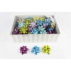 Lazos adhesivos estrellas colores metálicos 8x8x4cm