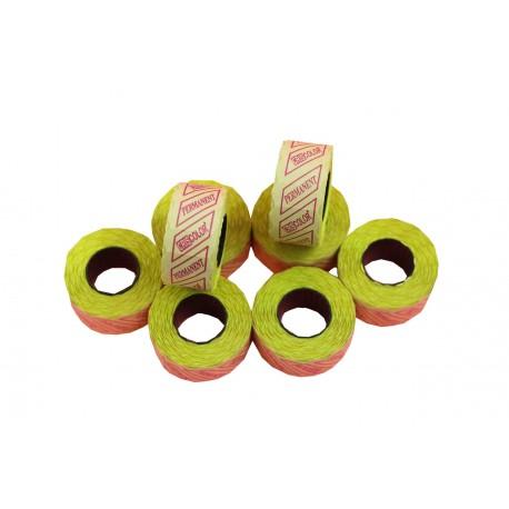 Etiquetas de precios para tiendas amarillas 1 línea 26x12mm