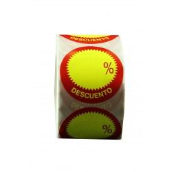 Etiquetas de descuento para tiendas amarillo y rojo 45mm