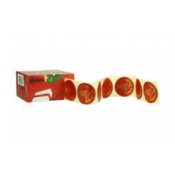 Etiquetas adhesivas para regalos mensaje felices fiestas fondo rojo